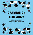 graduation poster throwing graduation hats in the vector image vector image