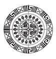 greek circular panel have four birds in it vector image vector image