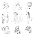 Hand drawn Love Story icons vector image