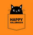 happy halloween black cat in pocket cute vector image vector image