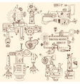 Industrial Machines Doodles Set vector image