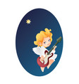 kid angel musician guitarist flying on a night sky vector image vector image