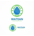 logo combination of water and earth vector image vector image