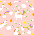 magic unicorns background seamless pattern with vector image