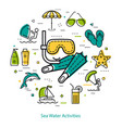 mask and flippers - round line concept vector image vector image
