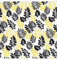 modern plant pattern yellow and black tropical vector image vector image