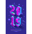 new year 2019 in isometric style isometric vector image vector image