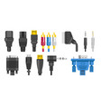 plugs isolated icons connection cables vector image