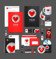 red corporate identity template design hearts vector image