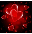 red hearts drop vector image vector image