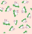 seamless pattern with rabbit and carrot hare vector image vector image