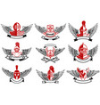 set emblems with knights helmets and swords vector image vector image