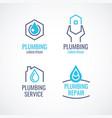 set logos emblems icons plumbing service vector image