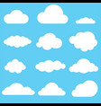 set of clouds clouds icon on blue background vector image