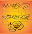 set of seven mechanical schemes vector image vector image