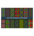 set plaid pattern seamless tartan patterns fabric vector image vector image