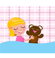 sleeping girl with teddy bear vector image vector image