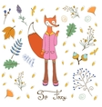 So foxy elegant concept card with fox character vector image