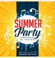 summer party flyer design with music notes vector image