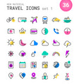 travel tourism and weather linear icons set 1 vector image vector image