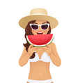watermelone smile woman vector image vector image