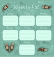 weekly planner with sea otters graphics vector image