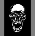 white skull with open mouth on black background vector image vector image