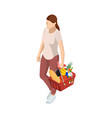 woman with grocery basket cart from supermarket vector image vector image