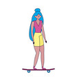 young woman with skateboard transport ecology vector image vector image