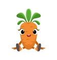 Big Eyed Cute Girly Carrot Character Sitting vector image