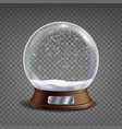 3d classic snow globe glass sphere with vector image