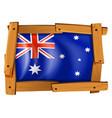 australia flag in wooden frame vector image vector image
