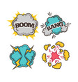 bang and boom colorful cartoon effects with clouds vector image