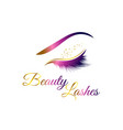 beauty cosmetic eye lashes logo symbol icon vector image