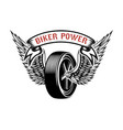 biker power emblem with winged wheel design vector image vector image