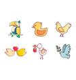 birds icon set cartoon style vector image