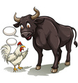 Bull and a cock vector image vector image