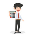 businessman holding calculator counting concept vector image vector image