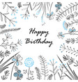 card with medow herbs and text happy birthday vector image