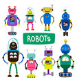 cartoon kids robots set vector image vector image