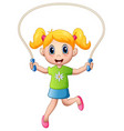 cartoon little girl playing jumping rope vector image