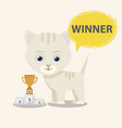 cat winner with victory cup vector image vector image