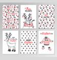 christmas hand drawn printable cards vector image