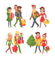 christmas shopping holiday preparation in winter vector image vector image
