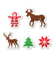 christmas winter pixelated icons set vector image