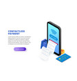 contactless payment with phone and credit card vector image vector image
