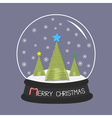 Crystal ball with snowflakes Merry Christmas card vector image vector image