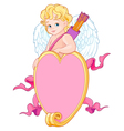 Cupid over a Heart Shape Sign vector image vector image