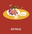 delicious food including cake and vegetables vector image