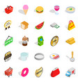 eatery icons set isometric style vector image vector image